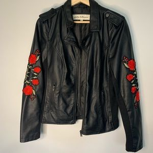 Jackets & Blazers - Faux Leather Jacket with roses 🌹